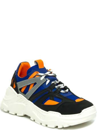 Cinzia Araia Black, Orange And Blue Fabric Sneakers