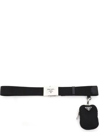 Prada Nylon Webbing Belt With Pouch