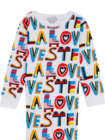 Stella McCartney Kids Cotton Dress With Multicolor Loves Print