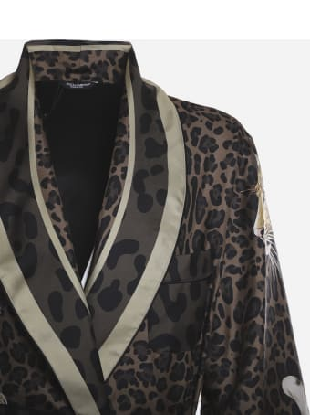Dolce & Gabbana Silk Robe With All-over Leopard Print