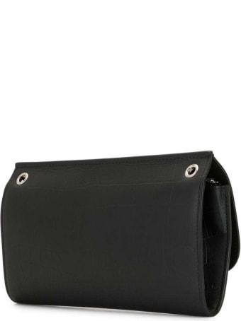 Mulberry Amberley Black Crocodile Printed Leather Crossbody Bag