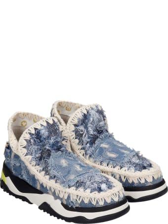 Mou Eskimo Trainer Low Heels Ankle Boots In Cyan Denim