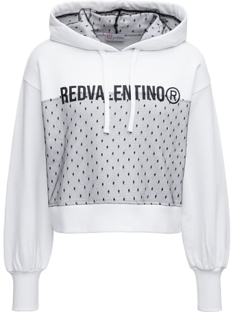 RED Valentino Cropped Hoodie In White Jersey With Contrasting Print And Point D'esprit Insert