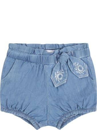 Chloé Blue Short For Babygirl With Logo