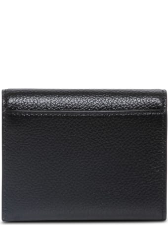 Balenciaga Black Hammered Leather Wallet With Logo