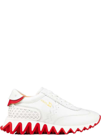 Christian Louboutin White Leather Loubishark Sneakers