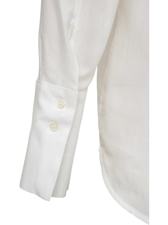 Tela White Silk Blend Blouse With Back Buttons