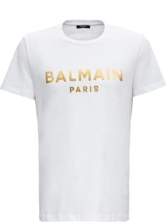 Balmain Laminated Logo Tee In White Jersey