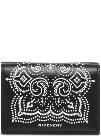 Givenchy Black And White Leather Wallet With Bandana Print