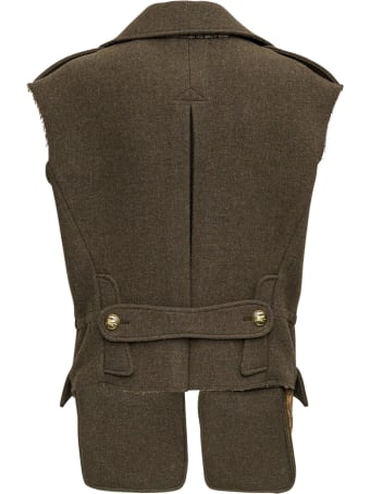 Etro Double-breasted  Green Wool Vest