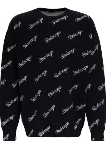 Balenciaga Wool Sweater With Allover Logo
