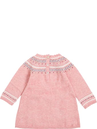 Tartine et Chocolat Pink Cotton And Wool Dress With Floral Inserts
