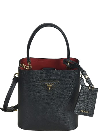 Prada Grained Leather Logo Plaque Tote