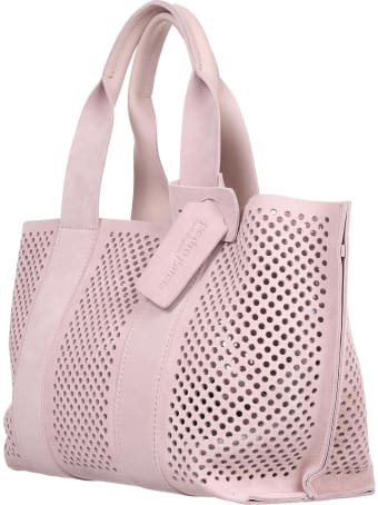 Pedro Garcia Perforated Bag In Nude Suede