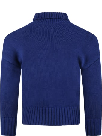 Zadig & Voltaire Blue Sweater For Kids With Amour Writing