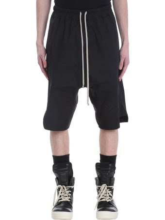 Rick Owens Basket Swingers Shorts In Black Cotton