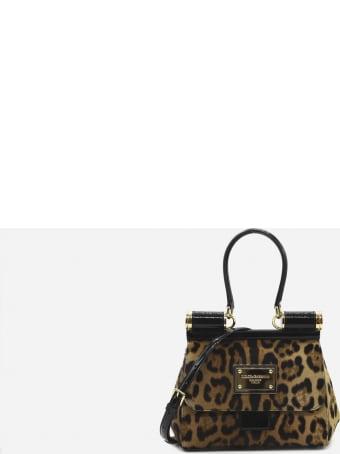 Dolce & Gabbana 90es Sicily Medium Leather Bag With All-over Leo Print