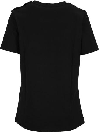 Balmain Black Cotton T-shirt With Bronze Logo Print