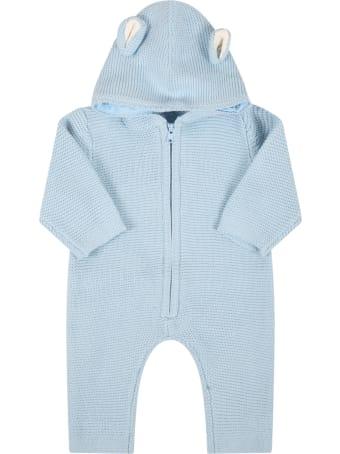 Stella McCartney Kids Light Blue Jumpsuit For Baby Boy With Bears Ears
