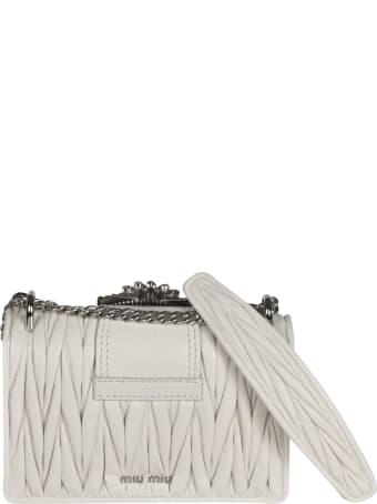 Miu Miu Matelassé Embellished Shoulder Bag