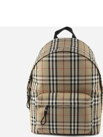 Burberry Vintage Check Tartan Backpack With Leather Trim