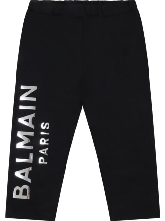 Balmain Black Leggings For Babygirl With Gold Logo
