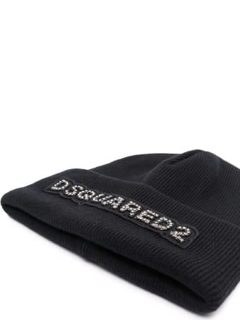 Dsquared2 Black Wool Beanie With Rhinestones Logo