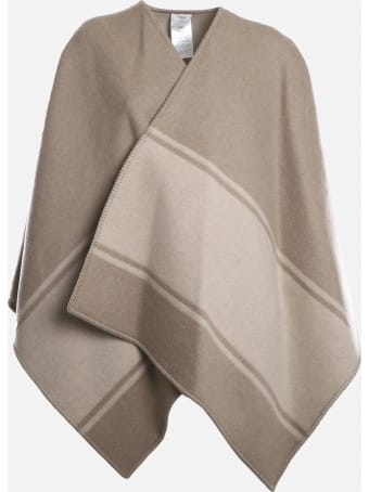 Fendi Wool And Cashmere Poncho With Logo Print