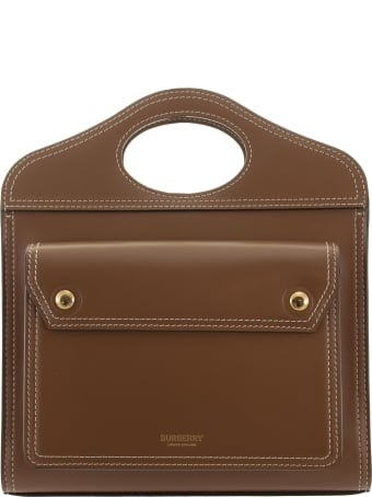 Burberry Mini Pocket Bag In Leather With Stitching