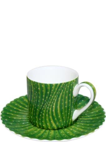 Taitù Set of 2 Espresso Cups & Saucers - Cactus Collection