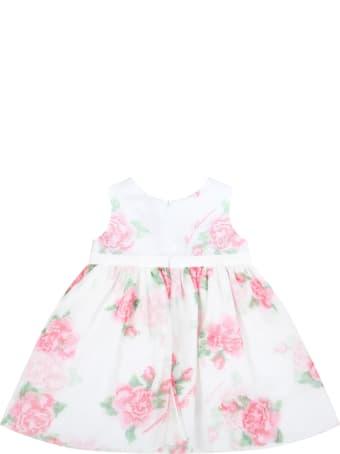 Blumarine White Dress For Baby Girl With Logo