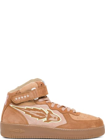 Enterprise Japan Beige Leather High Sneakers With Logo