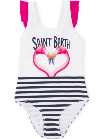 MC2 Saint Barth Flamingo Heart Print Ruffled One Piece