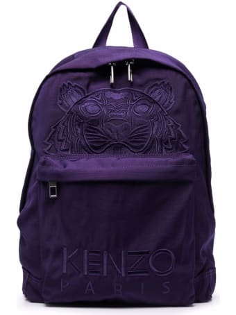 Kenzo Purple Nylon Backpack With Tiger Logo