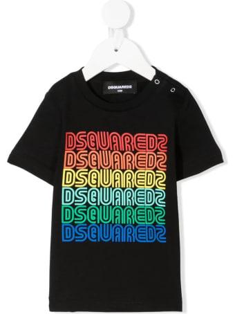 Dsquared2 Newborn Black D2kids Rainbow Logo T-shirt