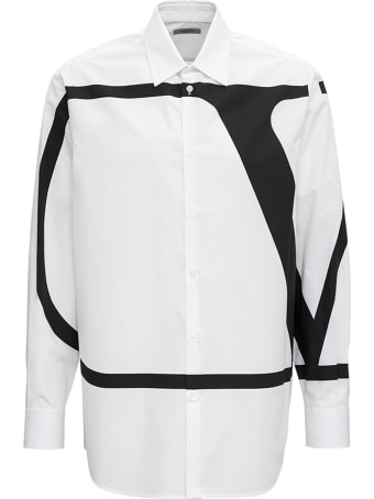 Valentino Cotton Poplin Shirt With V Logo Print