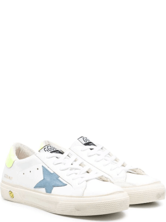 Golden Goose Kid White Super-star Sneakers With Light Blue Star And Fluo Yellow Spoiler
