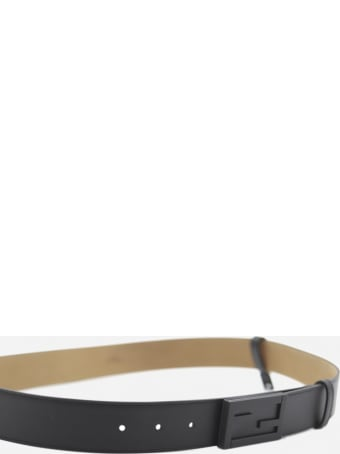 Fendi Leather Belt With Ff Baguette Buckle