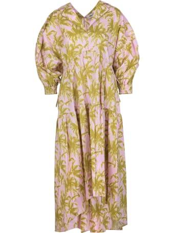 Diane Von Furstenberg Heather Cotton-poplin Midi Dress In Palm Pink Lemonade