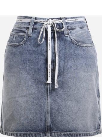 Calvin Klein Jeans High-waisted Mini Skirt In Cotton Denim
