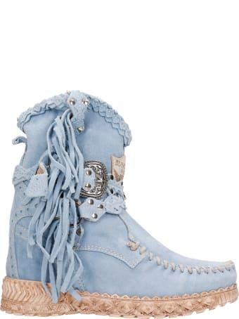 El Vaquero Arya Ankel Boots Inside Wedge In Cyan Suede