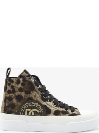 Dolce & Gabbana Portofino Sneakers In Cotton Drill With Leo Print