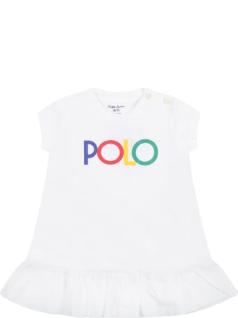 Ralph Lauren White Dress For Baby Girl With Logo