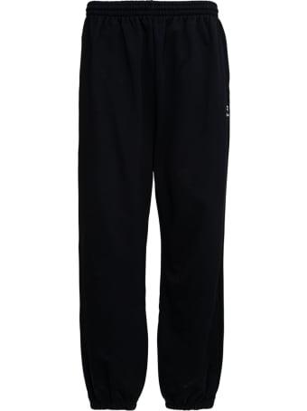Balenciaga Black Stretch Cotton Joggers With Logo Print