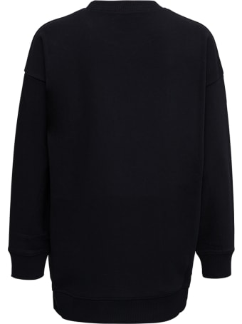 RED Valentino Oversized Black Sweatshirt With Contrasting Logo Print And Point D'esprit Insert