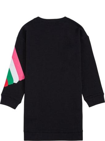 Stella McCartney Kids Black Cotton Dress With Multicolor Front Print