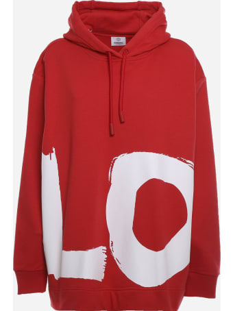 Burberry Cotton Sweatshirt With Asymmetrical Hem And Screen-printed Writing