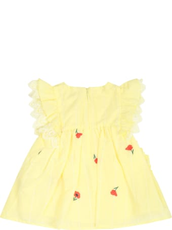 Chloé Yellow Dress For Babygirl With Roses