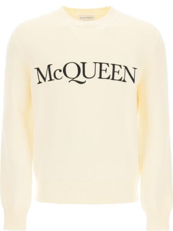 Alexander McQueen Cotton Sweater With Logo Embroidery
