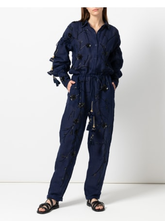 Christian Pellizzari Navy Linen Jumpsuit Full Embroidery In Black Color